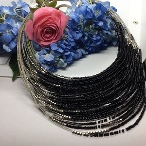 Silver Multiple Strand Silver to Black Necklace